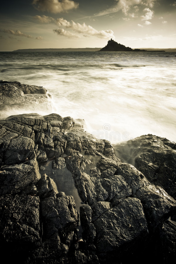 Silhouette of St Michaels Mount stock photos
