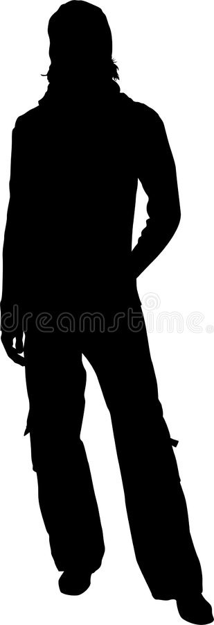 Silhouette of standing man vector illustration