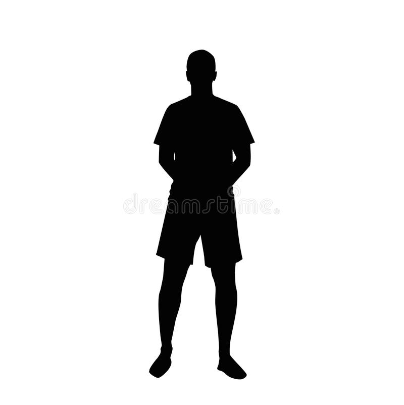 Silhouette of a standing man in shorts, hands behind his back. royalty free illustration