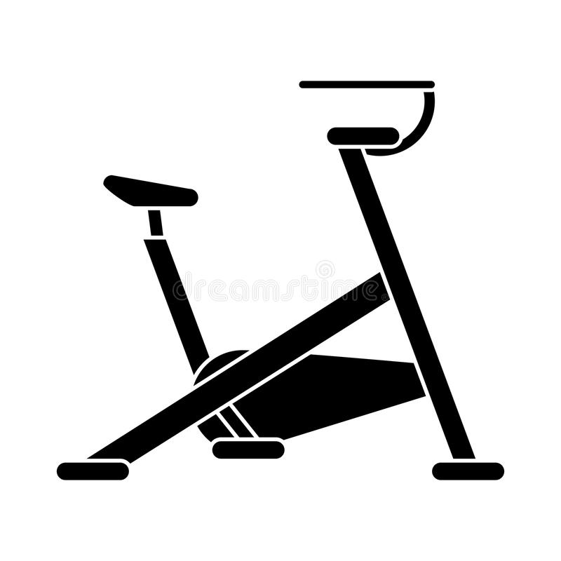 Silhouette stationary bicycle machine gym sport. Vector illustration eps 10 royalty free illustration