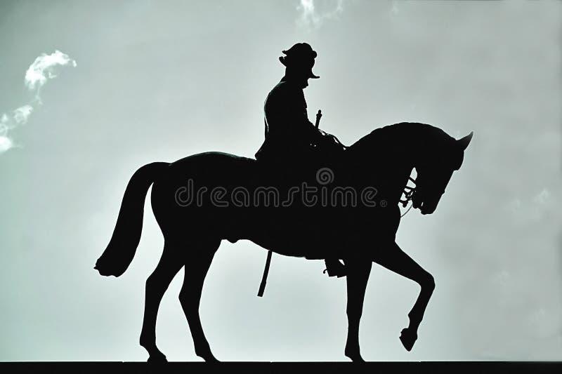 Silhouette of Statue at Anzac Square in Brisbane, Australia stock image