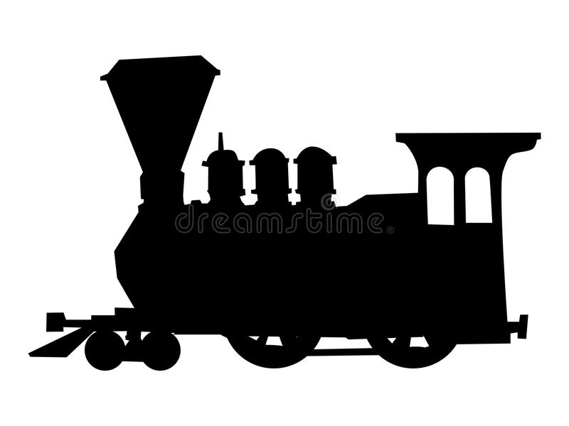 Silhouette of steam train royalty free illustration