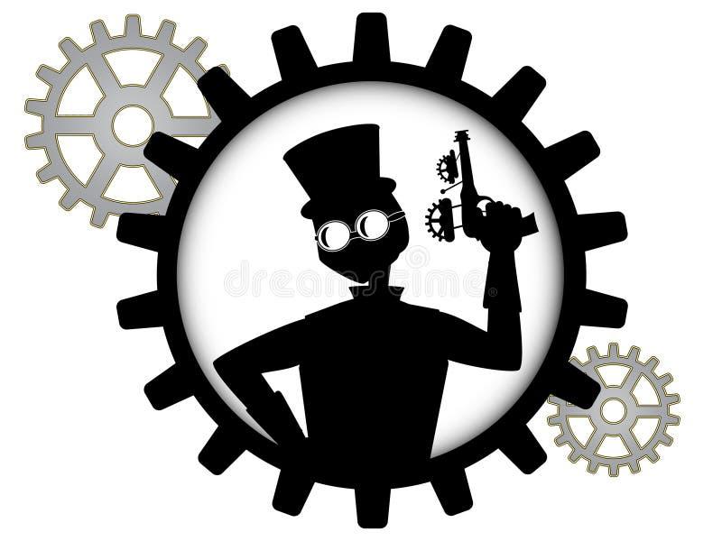 Silhouette of steampunk man holds gun inside gear vector illustration