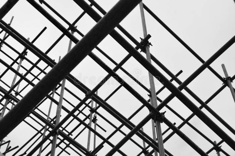 Silhouette of steel scaffolding. Construction background concept stock photography