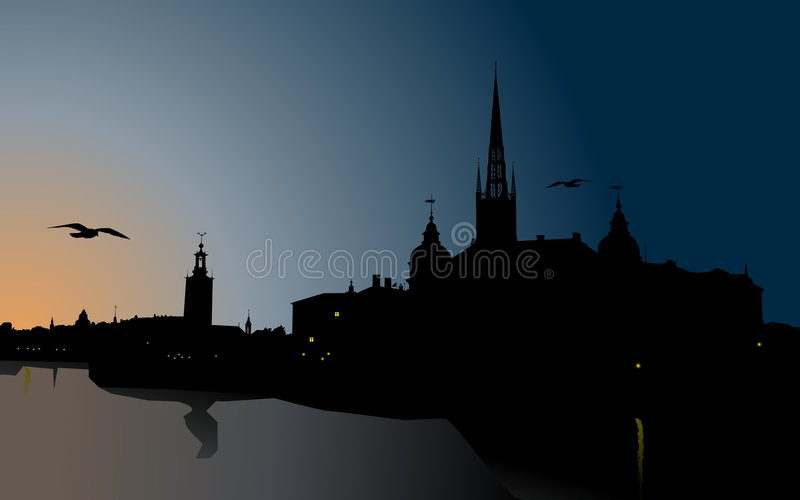 Silhouette Of Stockholm Royalty Free Stock Photography
