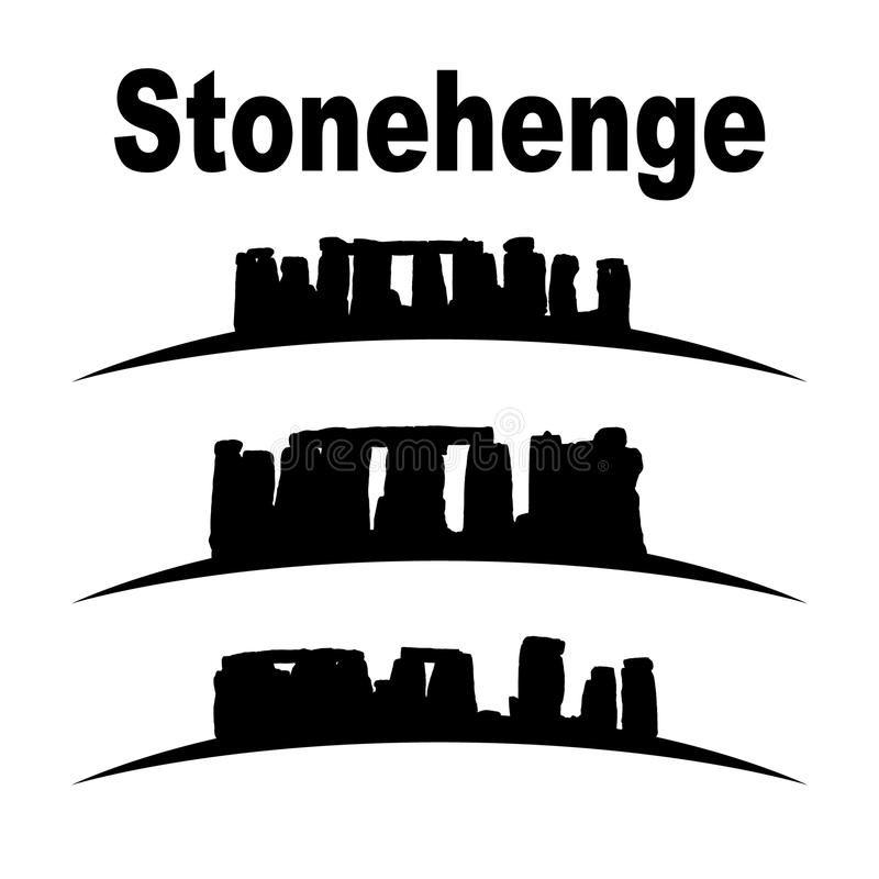 Silhouette of stonehenge. Set, great for your design royalty free illustration