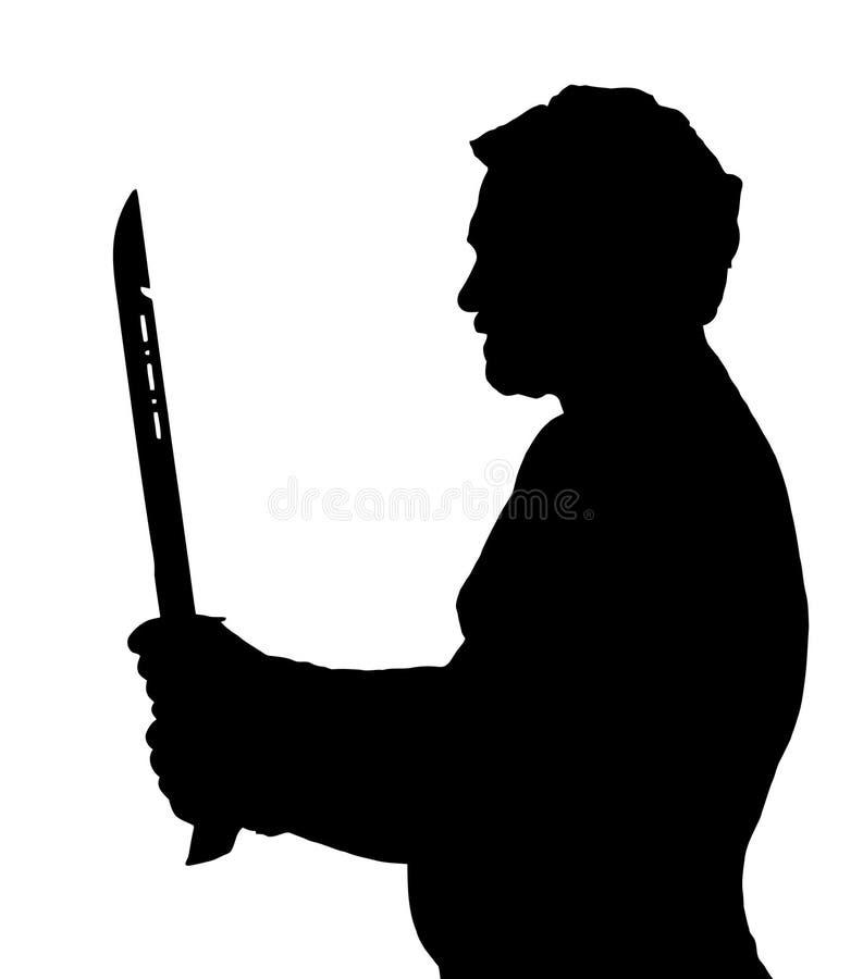 Silhouette Stubby European Holding Samurai Sword d'homme illustration libre de droits