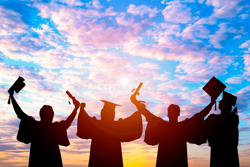 Silhouette of Student Graduation. stock images
