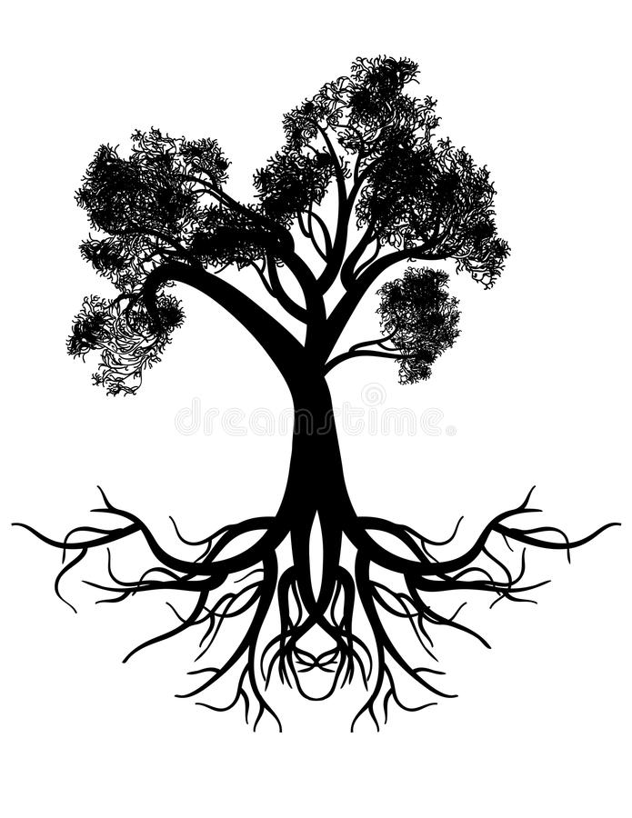 Silhouette stylisée d'arbre illustration libre de droits