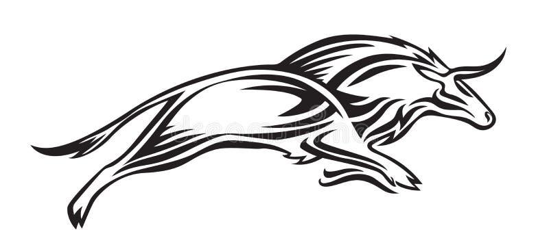 Silhouette stylisée de bison Illustration animale de vecteur, noir d'isolement sur le fond blanc Image graphique pour le tatouage illustration libre de droits