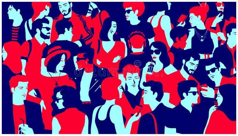 Silhouette stylisée de la foule du groupe mixte de personnes traînant, de causerie et potable illustration plate minimale de vect illustration stock