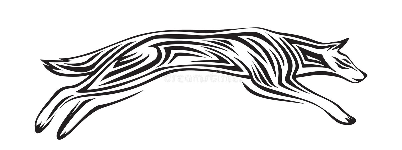 Silhouette stylisée de loup Illustration animale de vecteur, noir d'isolement sur le fond blanc Image graphique pour le tatouage, illustration stock
