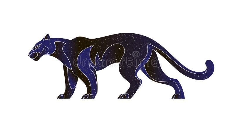 Silhouette stylisée de panthère de marche Illustration animale sauvage de vecteur, silhouette de couleur de ciel nocturne d'isole illustration libre de droits