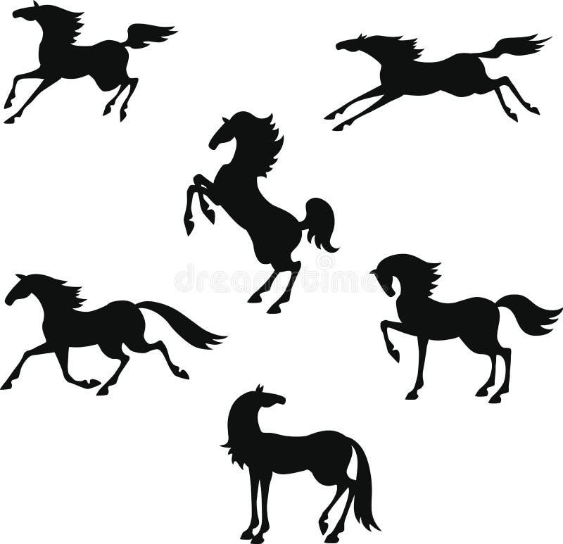 Silhouette stylisée des chevaux illustration de vecteur