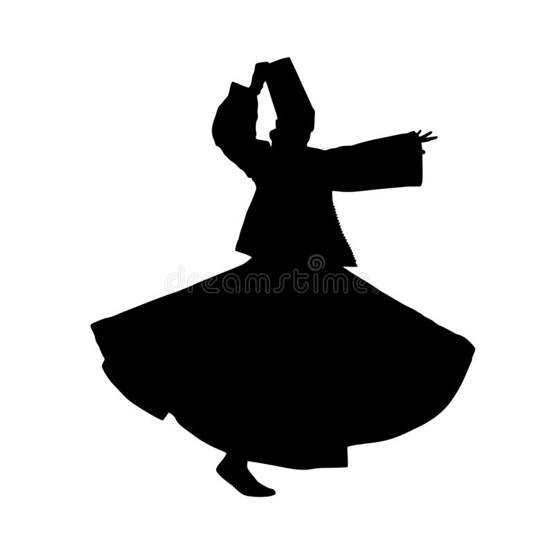 Silhouette of sufi dancer. royalty free illustration