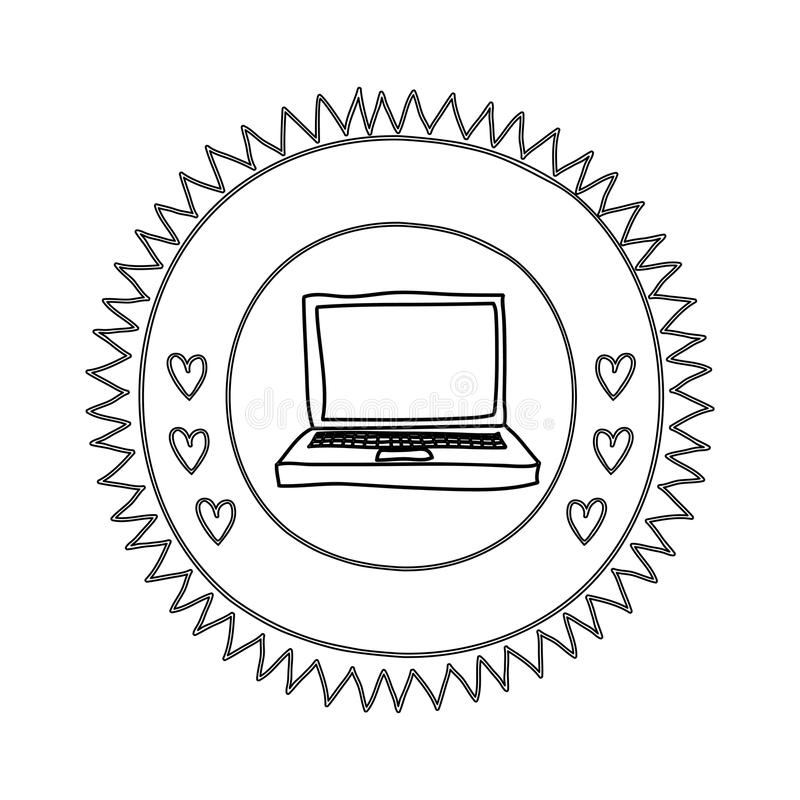 Silhouette sun shape with hearts and laptop computer. Vector illustration royalty free illustration