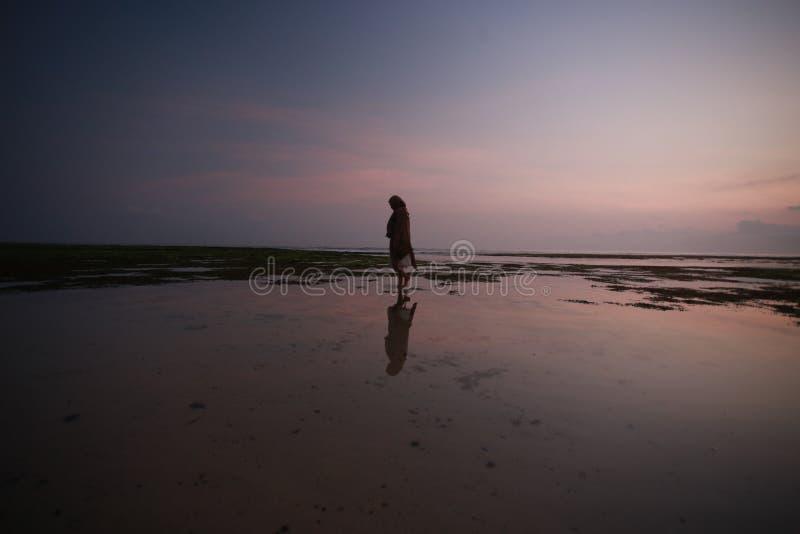 Silhouette, sunset, and beach stock photos