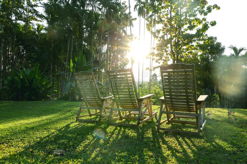 Silhouette sunset three wooden armchair on green grass field and stock image