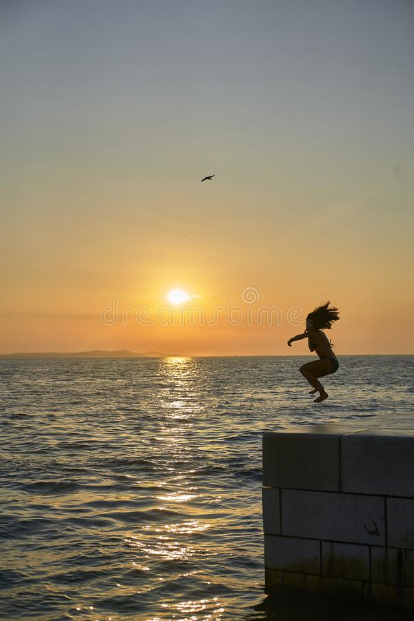 Silhouette in the Sunset of Zadar. Croatia. Europe. Silhouette in the Sunset of Zadar. Croatia. Europe royalty free stock photo