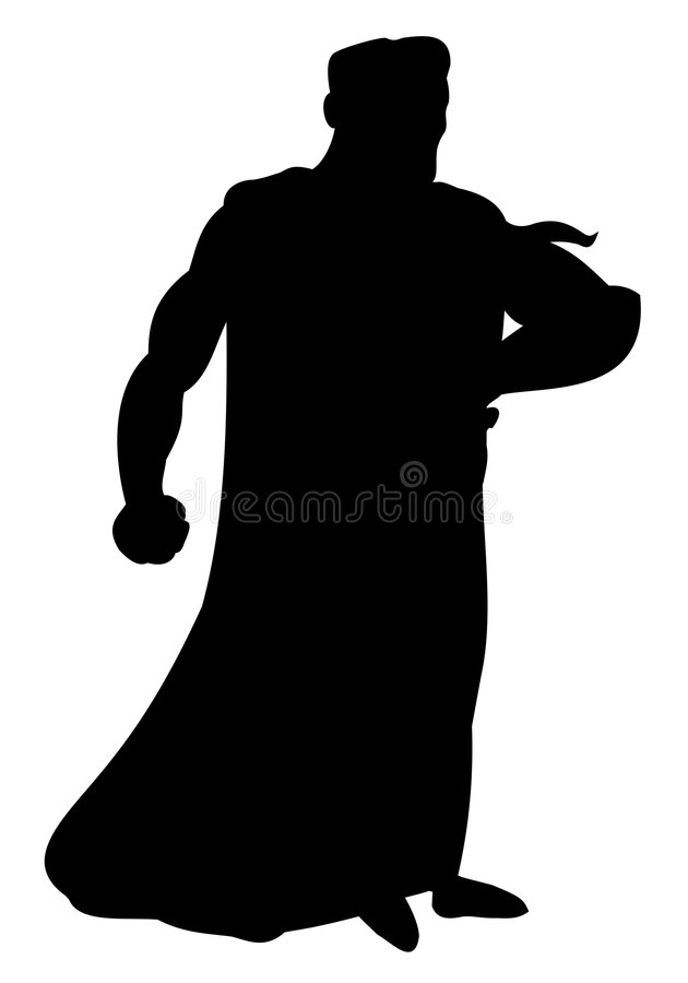 Silhouette of superhero royalty free stock photography