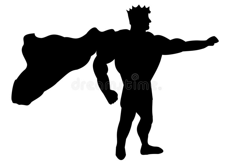 Silhouette of superhero stock photography