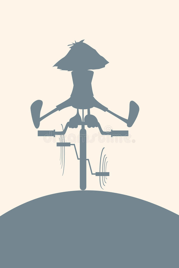 Silhouette sur une bicyclette illustration de vecteur