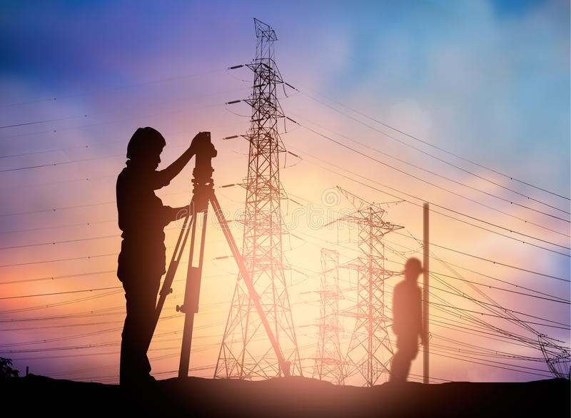 Silhouette survey engineer working in a building site over Blur royalty free illustration