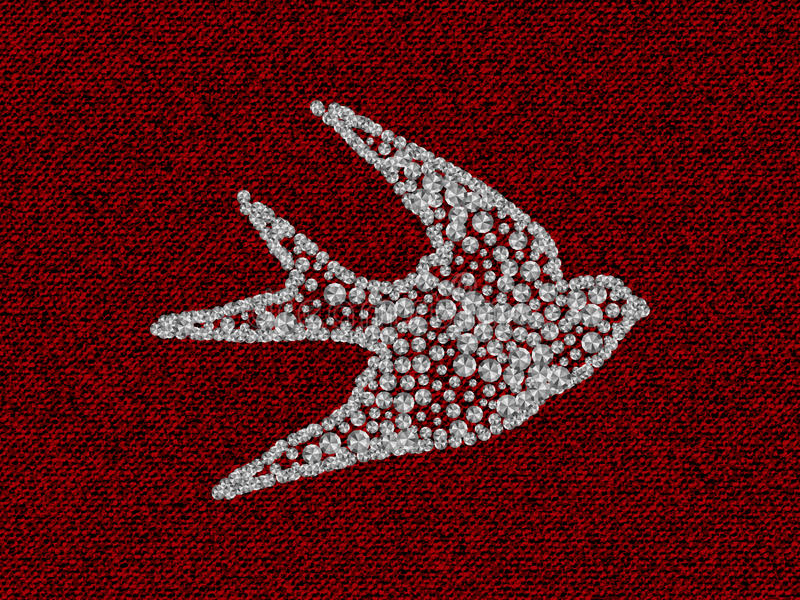 Silhouette of swallow with Rhinestones diamonds on the red coton texture. Silhouette of swallow with Rhinestones diamonds on the dark red coton texture. Vector royalty free stock images