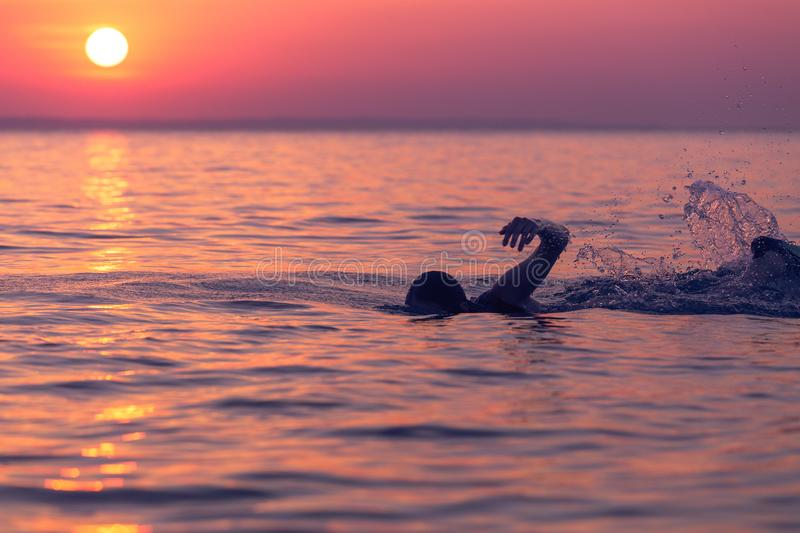 Swimmer at sunset over sea royalty free stock photography
