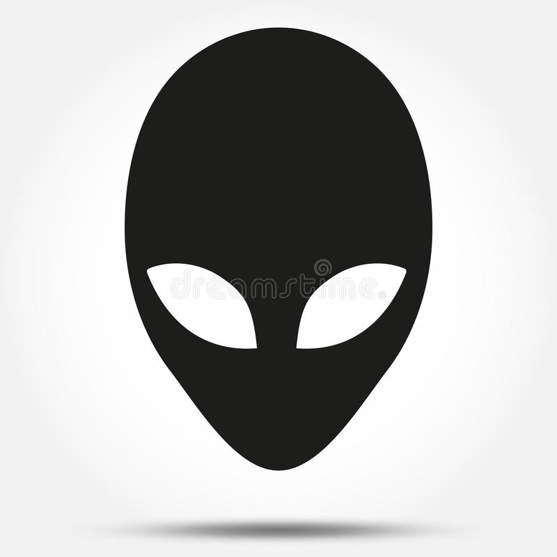Silhouette symbol of Alien head creature from royalty free illustration