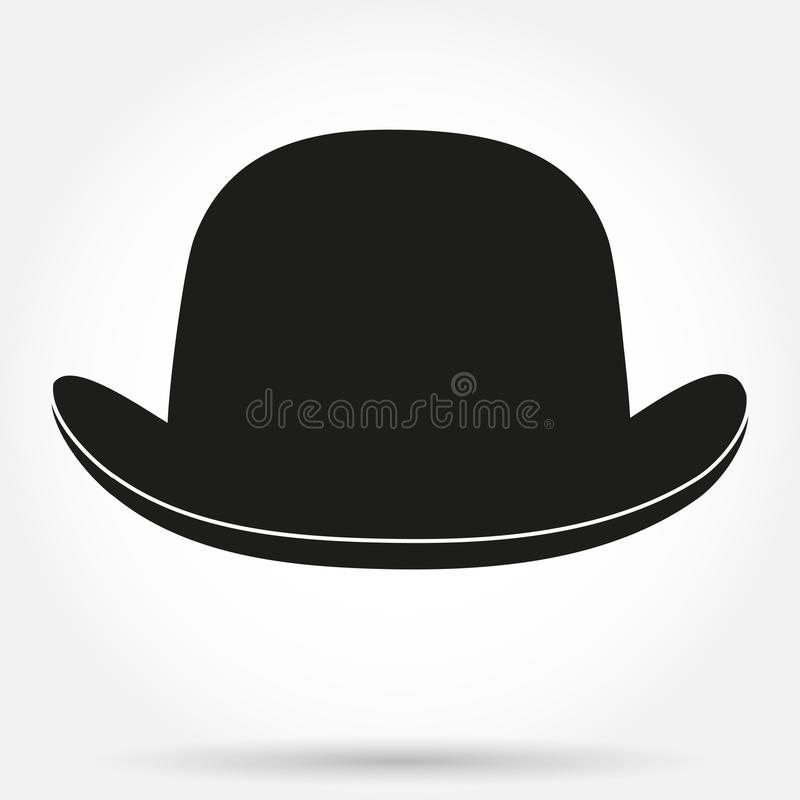 Silhouette symbol of bowler hat on a white royalty free illustration