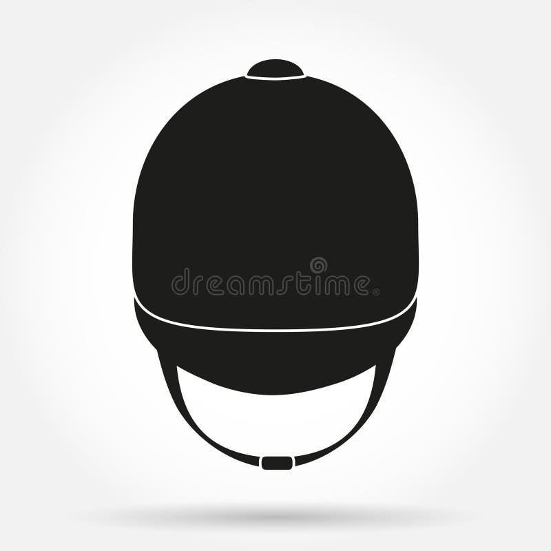Silhouette symbol of Jockey helmet for horseriding stock illustration
