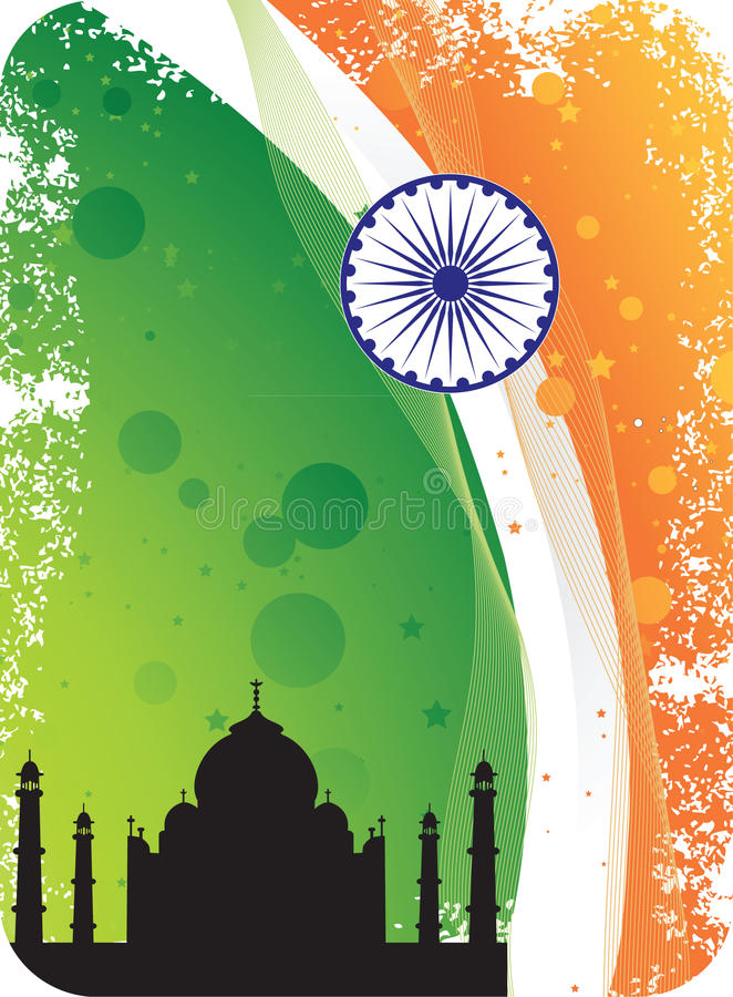 Download Silhouette Of Taj Mahal On Indian Flag Background Stock Illustration - Image: 23586113