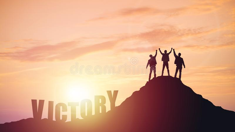 Silhouette of the team on the mountain royalty free stock photo