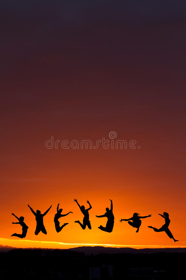Download Silhouette Of Teenagers Jumping In Sunset Stock Photos - Image: 24331823