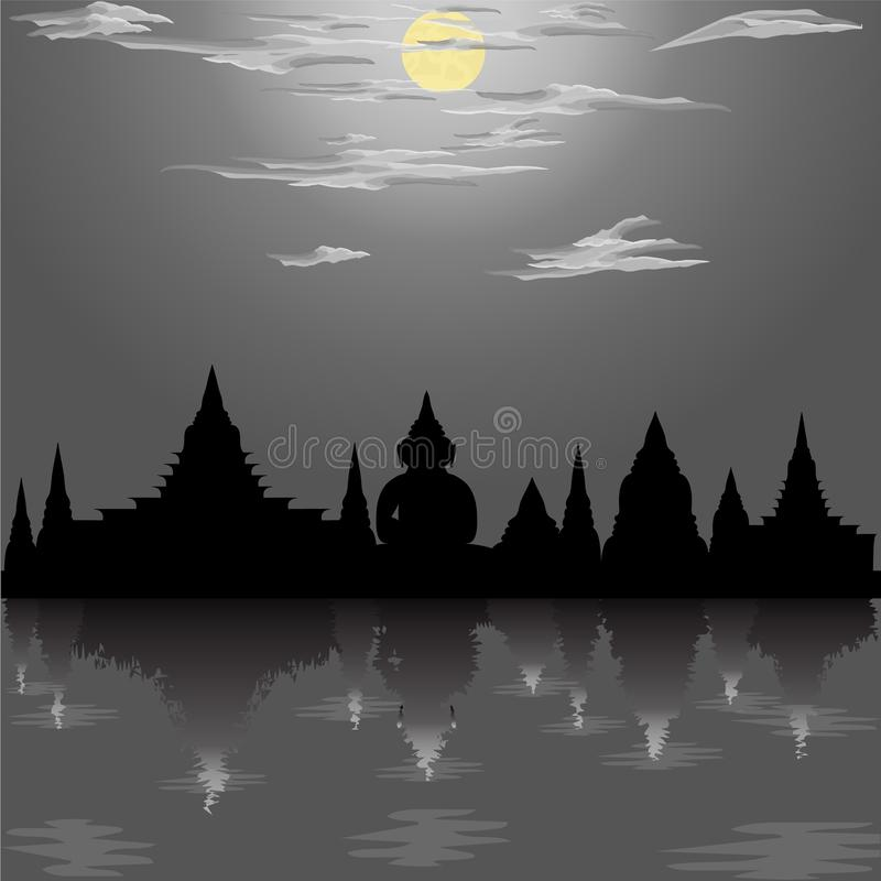 Silhouette temple festival loy krathong buddha culture moon asia thailand night river siam sky religion illustration royalty free illustration