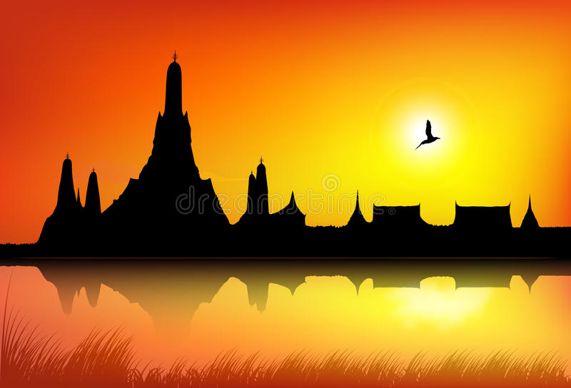 A silhouette of Temple. A silhouette illustration of Wat Arun Temple in Bangkok vector illustration