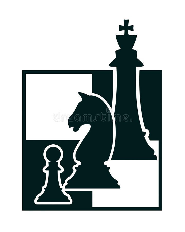 Silhouette of chess figures royalty free illustration