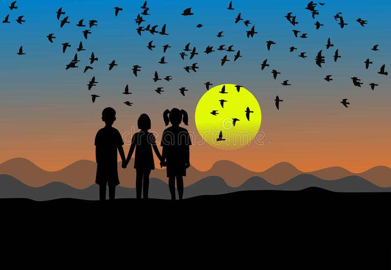 Silhouette of three children standing at sunset There are birds flying in the sky vector illustration