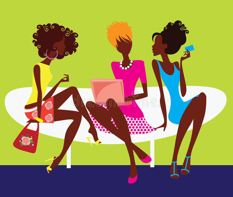 Download Silhouette Of Three Girls Sitting On Chair Stock Vector - Illustration of friendship, fashion: 19044811