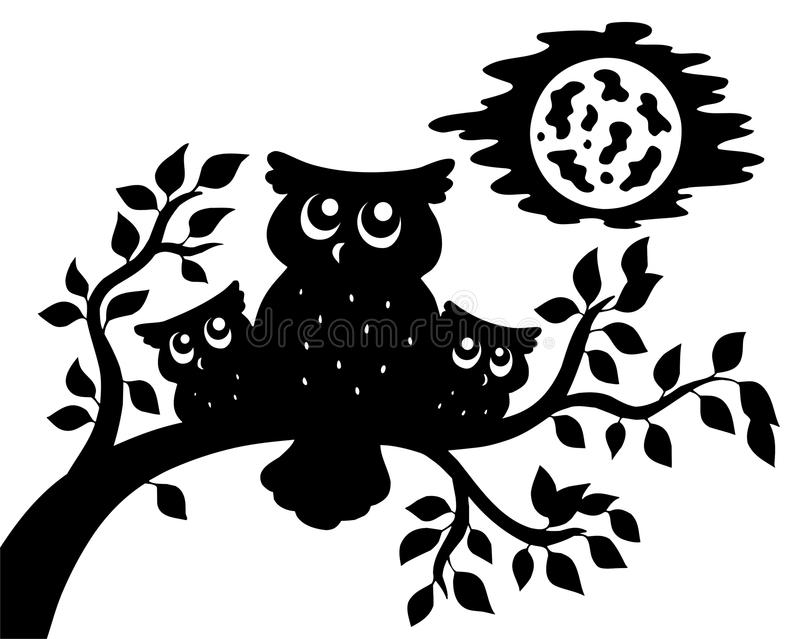Silhouette of three owls on branch stock illustration
