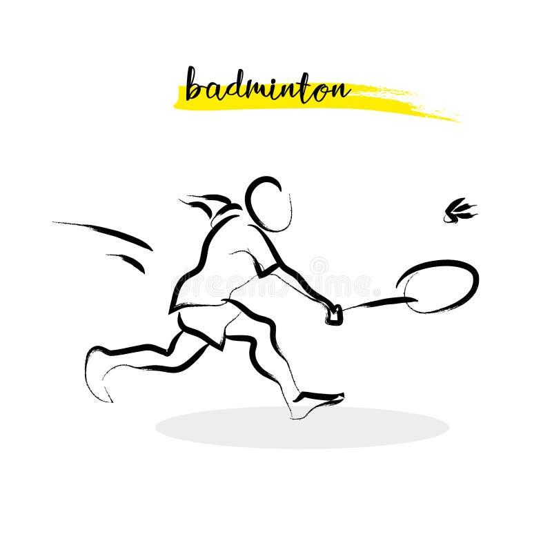 Silhouette tirée par la main d'athlète de sport de vecteur d'isolement illustration de vecteur