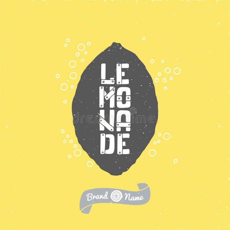 Silhouette tirée par la main de citron avec le lettrage de limonade Conception de métier de paquet de hippie illustration stock