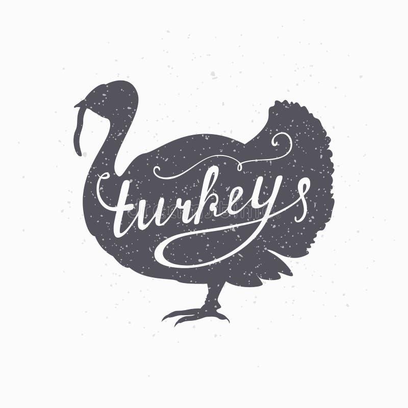 Silhouette tirée par la main de hippie d'oiseau de ferme La Turquie illustration de vecteur