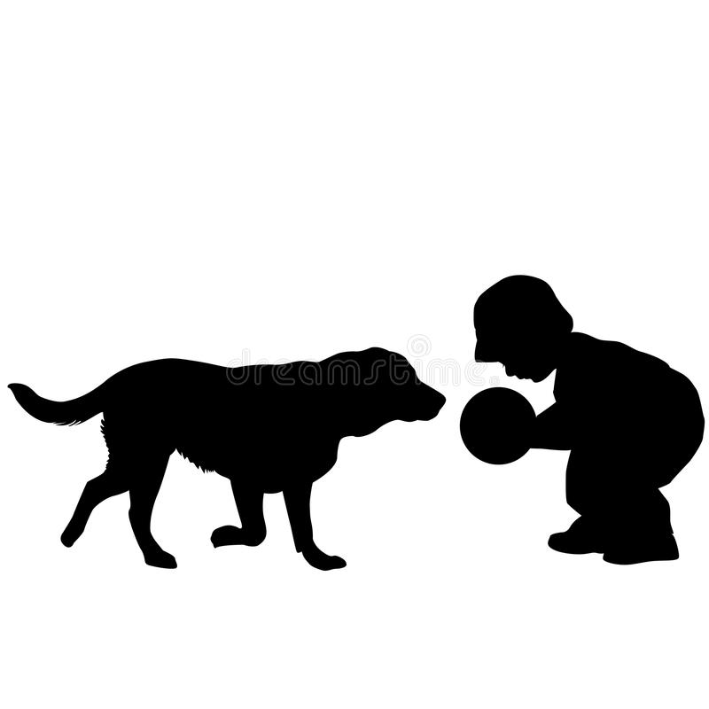 Toddler playing with a dog. Silhouette of a toddler playing with a dog royalty free illustration