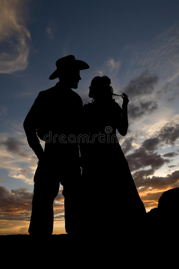 Silhouette Together Hair Playing Stock Photos