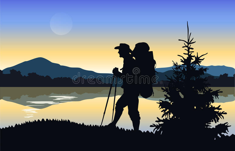 Silhouette of a tourist on a background of mountains and water. stock illustration