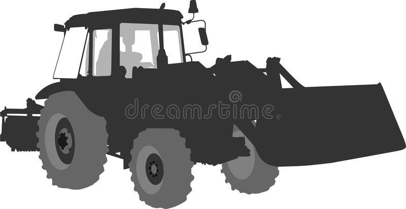 Silhouette of a tractor of road service stock images