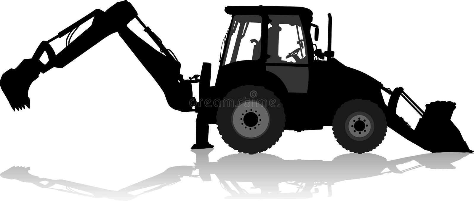 Silhouette of a tractor of road service in profile stock photo