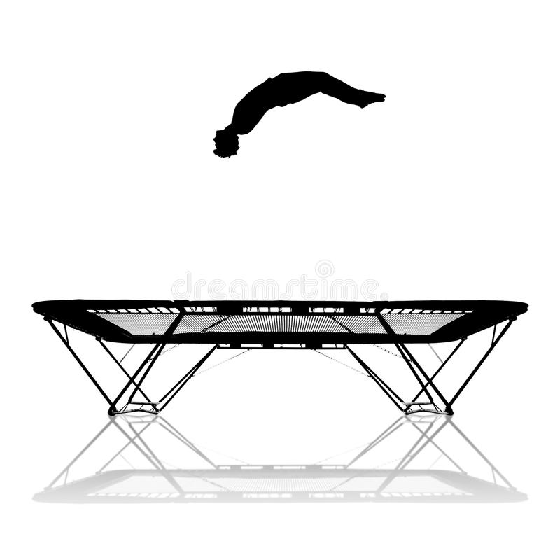 Silhouette on trampoline. Silhouette of gymnast on trampoline vector illustration